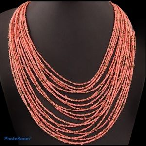 Coral Seeds Beaded Necklace